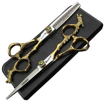 Golden delicate pattern 6-inch Japanese 440C professional haircut hairdresser cut hair tools scissors set (scissors set)