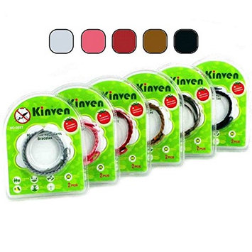 Kinven Original Mosquito Insect Repellent Bracelet Waterproof Natural DEET Free Insect Repellent Bands, Anti Mosquito Protection Outdoor & Indoor, Adults & Kids, 4 Bracelets, in Brown/Black