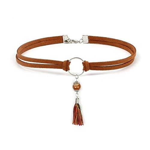 FXmimior Tassel Synthetic Turquoise Pendant Choker Brown Handmade Necklace Bohemian Women Girl Accessories