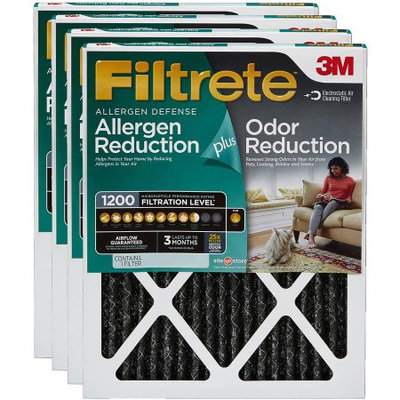 Filtrete Allergen Plus Odor Reduction Air and Furnace Filter, 1200 MPR, Available in Multiple Sizes, 4pk