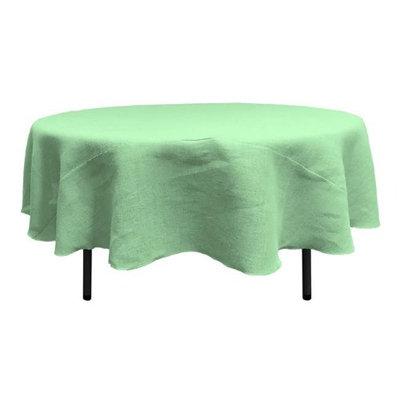 LA Linen TCBurlap72R-Mint Round Dyed Natural Burlap Tablecloth Mint - 72 in.