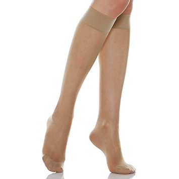 20-30 mmHg Compression Knee High Stockings, Graduated Compression & Support Hosiery Fine Italian Made Fashionable Knee High Stockings (Size 5 Nude)