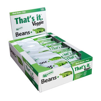 That's It Black Bean & Peas Veggie Bars, Natural Great Tasting Healthy Full Serving of 100% Real Vegetable Snack on The Go, 4g Protein and Fiber, No Preservatives, Vegan, Gluten Free, Paleo (12 Pack)