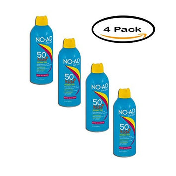 PACK OF 4 - No-Ad Kids Continuous Spray Sunscreen SPF 50, 10.0 FL OZ