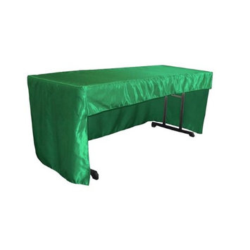 LA Linen TCbridal-OB-fit-72x30x30-GreenKellyB32 2.04 lbs Open Back Fitted Bridal Satin Classroom Tablecloth Green Kelly - 72 x 30 x 30 in.