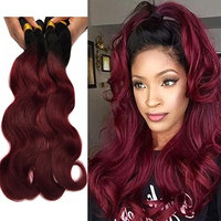 XCCOCO Hair Peruvian Ombre Hair Extensions Weaves 1B/99J Two Tone Body Wave Peruvian Virgin Human Hair 4 Bundles Black Burgundy 100g 10