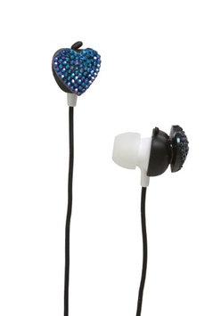 Private Label Apple of my Eye Heart Earbud Headphones, Blue