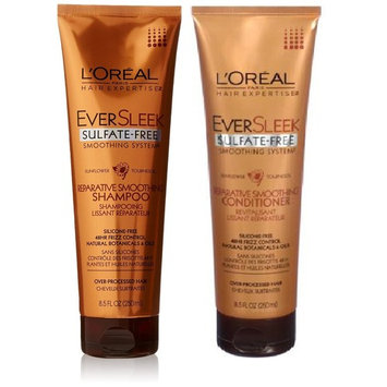 L'Oreal Paris EverSleek Sulfate-Free Smoothing System Reparative Smoothing, DUO Set Shampoo + Conditioner, 8.5 Ounce, 1 Each