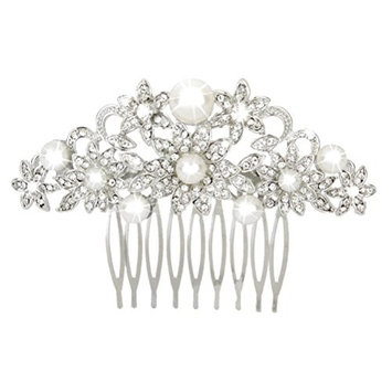 SODIAL(R) Bride wedding hair comb crystal rhinestones hair clip hair jewelry silver