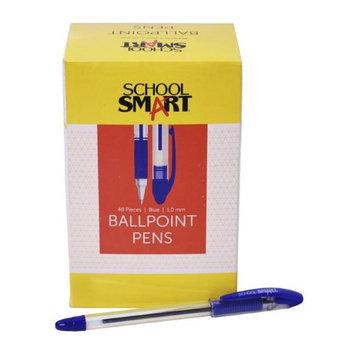 School Smart 1572353 1.0mm Pen Grip Medium Ballpoint Blue - Pack of 48