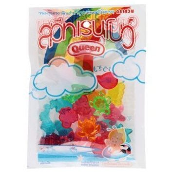 Queen Sweet Rainbow Fruit Flavour Assorted Artificial Gelatin 55 g. By Thaienjoy (Pack of 2)