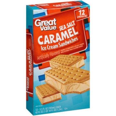 Great Value Sea Salt Caramel Ice Cream Sandwiches, 3.5 fl oz, 12 ct