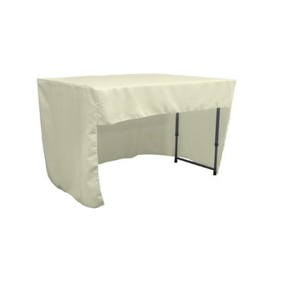 LA Linen TCpop-OB-fit-48x30x30-IvoryP25 1.6 lbs Open Back Polyester Poplin Fitted Tablecloth Ivory