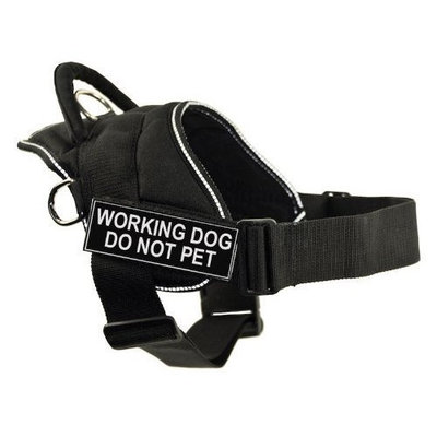 Dean & Tyler DT Fun Works Harness, Working Dog Do Not Pet, Black With Reflective Trim, Medium - Fits Girth Size: 28-Inch to 34-Inch