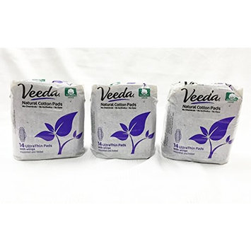 Veeda Ultra Thin Pads with Wings, Natural Cotton, Regular Pads, 3 Packs of 14 Count Each