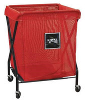 ROYAL BASKET TRUCK G06-RRX-XMA-3ONN X-Frame Cart,6 Bu, Red Mesh