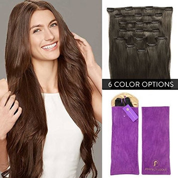 Premium Straight Clip In Hair Extensions Set   Add Volume with 100% Remy Human Hair 7 Piece Clip On Set   26 Inch Clip Ins  #1B Natural Virgin Off-Black   175 grams per set []