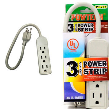 Atb 3 Line Outlet Power Strip 1 Ft Heavy Duty Cord 13 Amps UL Breaker Surge 125V New
