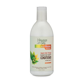 Hawaiian Silky Apple Cider Vinegar Hair So Soft Conditioner Sulfate-Free, 12 fl oz - Black Castor Oil Enriched - for Dry and Damaged Scalp | for Men, Women & Kids | Good on Color Treatment