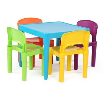 Tot Tutors Playtime Kids Plastic Table & 4 Chairs Set, Aqua Table with Primary Chairs