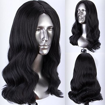 Persephone Natural Black Synthetic Wigs Shoulder Length #1B Wavy Wig for Women Heat Resistant 16 Inches