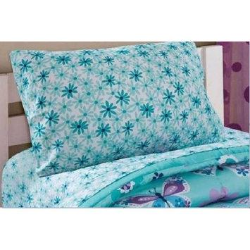 Mainstays Kids Aqua FLoral Coordinating Printed Sheet Set [pattern: pattern-butterflyfloral]