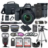 Canon EOS 6D MARK II DSLR Camera Bundle w/ Canon EF 24-105mm f/3.5-5.6 IS STM Lens + Sigma 70-300mm f/4-5.6 DG Autofocus Lens + 2pc SanDisk 32GB Memory Cards + Premium Accessory Bundle Kit (20 Items)