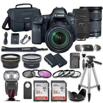 Canon EOS 6D MARK II DSLR Camera Bundle w/ Canon EF 24-105mm f/3.5-5.6 IS STM Lens + Sigma 70-300mm f/4-5.6 DG Autofocus Lens + 2pc SanDisk 32GB Memory Cards + Premium Accessory Bundle Kit (20 Items)
