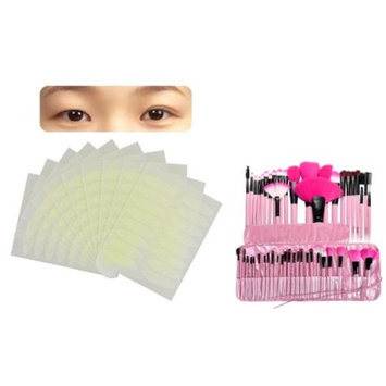 Zodaca PINK 24Pcs Makeup Brush Set Eye shadow Eyeliner Powder Foundation Blush Contouring Blending Cosmetic Comprehensive Tools with Case (24 Count) + 160 Pairs Breathable Double Eyelid Sticker Tape