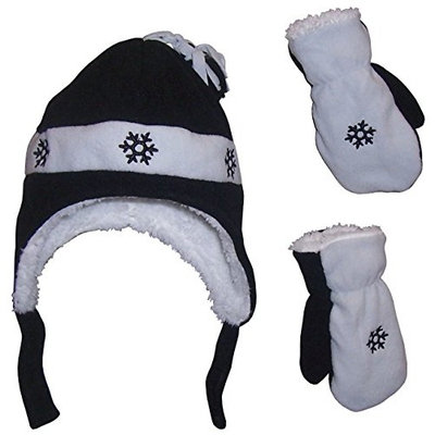 N'Ice Caps Little Boys and Baby Sherpa Lined Fleece Hat Mitten Embroidery Set