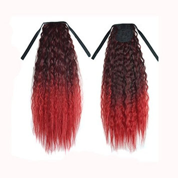 Creazy Gradient Color Ribbon Wavy Curly Long Ponytail Horsetail Clip Hair Extensions