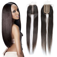 Dingli Hair Size 2x4 Middle Part Lace Closure with Baby Hair 100% Brazilian Virgin Human Hair Closures with No Bleached Knots Nature Color (16 inch,...
