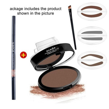HER NAME 1 set Pro 3 add an eyebrow brush Best Eyebrow Stamp for Perfect Eyebrow Drawing Eye Brow Waterproof Long Lasting Eyebrow Powder