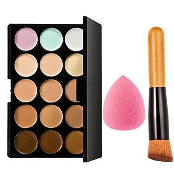 15 Color Foundation Concealer Palette Makeup Set Face Powder Brush/Buff