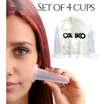 Anti Aging Facial Cupping Therapy Set of 4 Silicone Vacuum Suction Cups. Effective Exfoliation Treatment For a Healthier Face Skin. Helps with Wrinkles, Fine Lines, Pimples & Scars