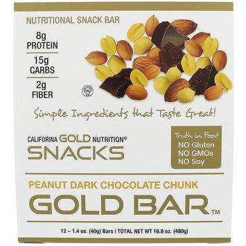 California Gold Nutrition, Gold Bar, Peanut Dark Chocolate Chunk, 12 Bars, 1.4 oz (40 g) Each [Flavor : Peanut Dark Chocolate Chunk]