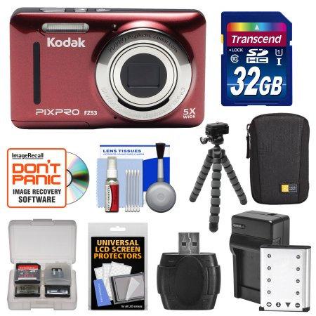 Kodak Ltd Kodak PixPro Friendly Zoom FZ53 Digital Camera (Red) with 32GB Card + Battery & Charger + Case + Flex Tripod + Kit