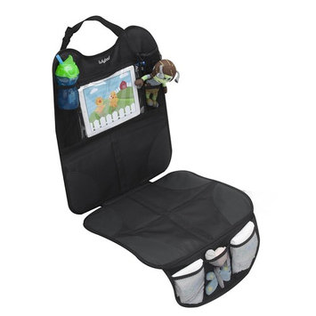 Lulyboo Auto Seat Protector and Carseat Organizer Tablet iPad Device Storage Window, Reinforced Seat Padded Non-Slip Grip Front and Rear Facing For Baby and Toddler Car Seats
