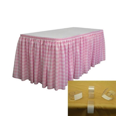 LA Linen SKTcheck21x29-15Lclips-PinkK37 Polyester Gingham Checkered Table Skirt with 15 L-Clips White & Pink - 21 ft. x 29 in.