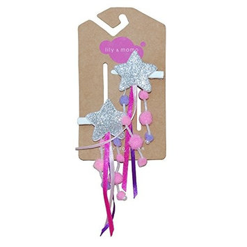 Lily & Momo Shooting Stars Alligator Hair Clip, Silver & Pom Pom Pink, 2 Count