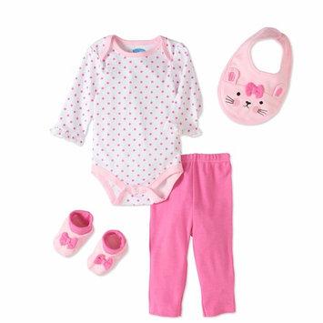 born Baby Girl Bodysuit, Pants, Bib & Booties, 4pc Outfit Set