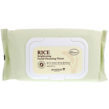 Skinfood, Rice Brightening Facial Cleansing Tissue, 80 Sheets