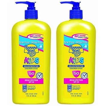 Banana Boat Sunscreen Kids Family Size Broad Spectrum Sun Care Sunscreen Lotion - SPF 50, 12 Ounce, 2-PACK