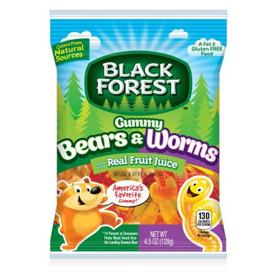 Ferrara Candy Company Black Forest Gummy Bears and Worms Candy, 4.5 Ounce Bag