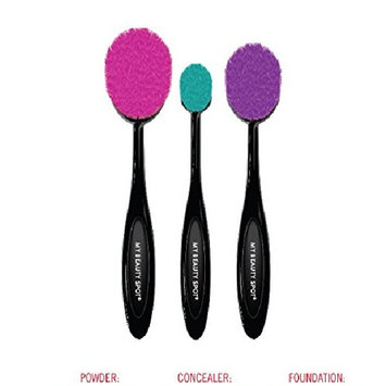 My Beauty Spot Color Rush Flawless Foundation Oval Toothbrush Style Makeup Brush Set With Multicolroed Bristles - Small, Medium & Large