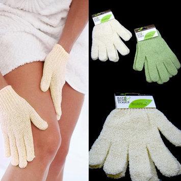 Alltopbargains 2 Pairs Shower Exfoliating Wash Skin Spa Bath Gloves Massage Loofah Scrubber New