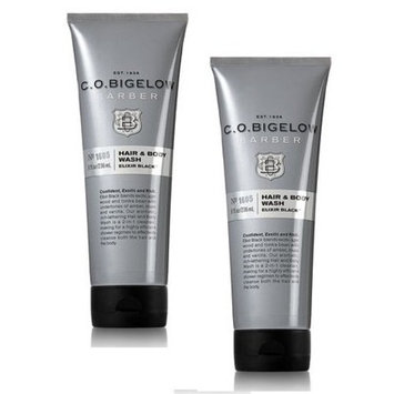 C.O. Bigelow 2 Pack Elixir Black Men's Hair and Body Wash. 8 Oz.