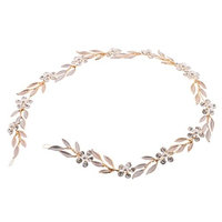 MonkeyJack Gold Rhinestone Floral Vine Headband Wedding Prom Bridal Hair Accessories