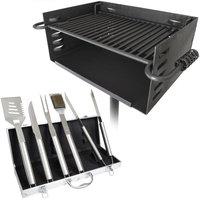 Titan Distributors Titan Single Post JUMBO Park Style Grill + 5pc Grilling Tool Set w/ Carry Case