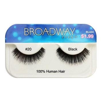 Broadway Eyes False Strip Eyelashes 100% Human Hair Black #20, BLA04